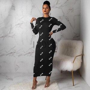 Женское прямое платье 8 стилей с длинным рукавом и буквенным принтом, сексуальное платье с круглым вырезом для вечеринки|Платья|   | АлиЭкспресс