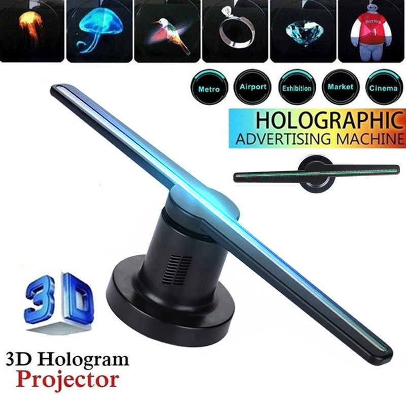 3D Hologram <font><b>Advertising</b></font> Dispaly Projector Fan Holographic Imaging 3D Remote Hologram Player LED Fan Light 224 LEDs Lamp Dropship image