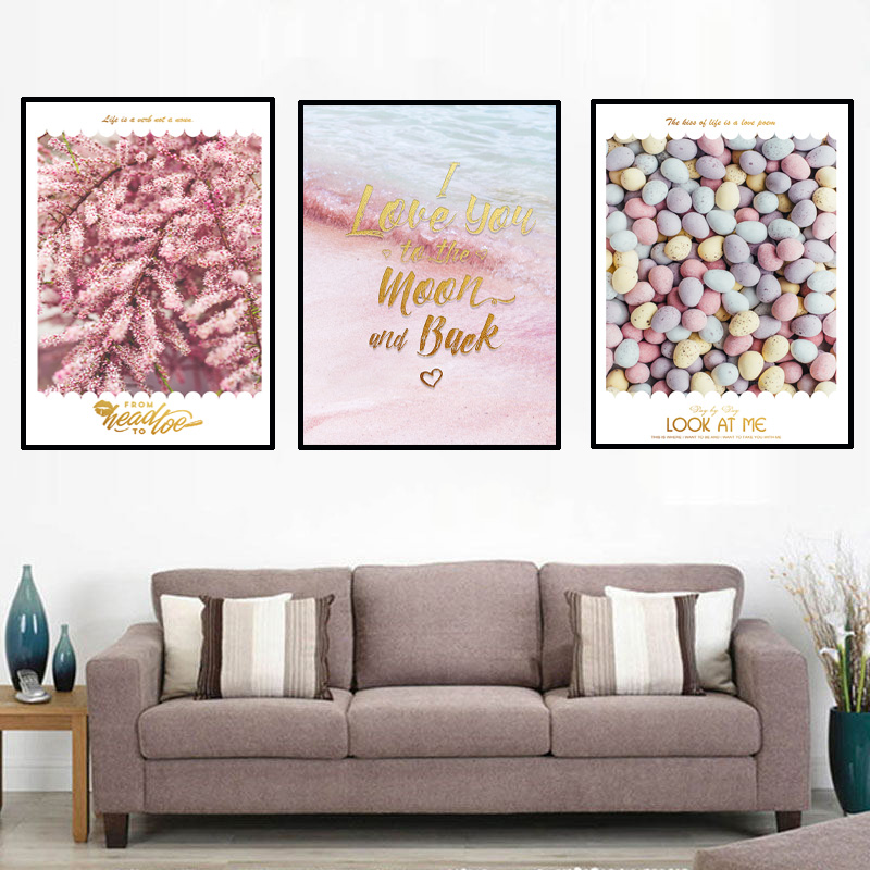 Simple pink girl heart decorative posters Nordic Moderno Simple Poster Canvas Art Print Wall Pictures For Living Room Monstera L