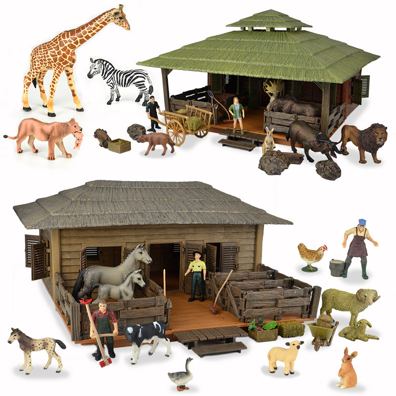 NewBiFo Original Wild Life Zoo Farm Animals Figures Farmer Breeder Doll House Stable Sets Horse Toys Children's Gift