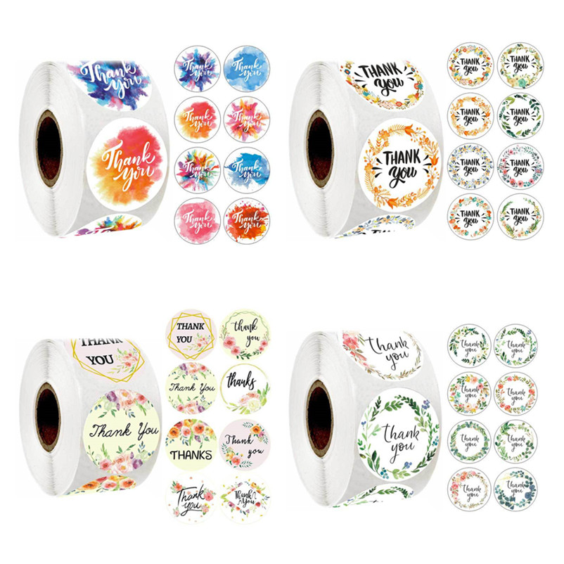 8 Styles Of Circular Flowers Thank You Stickers 1Inch Adhesive Scrapbooking Seal Romantic Baking Gift Olive Branch Paper Sticker