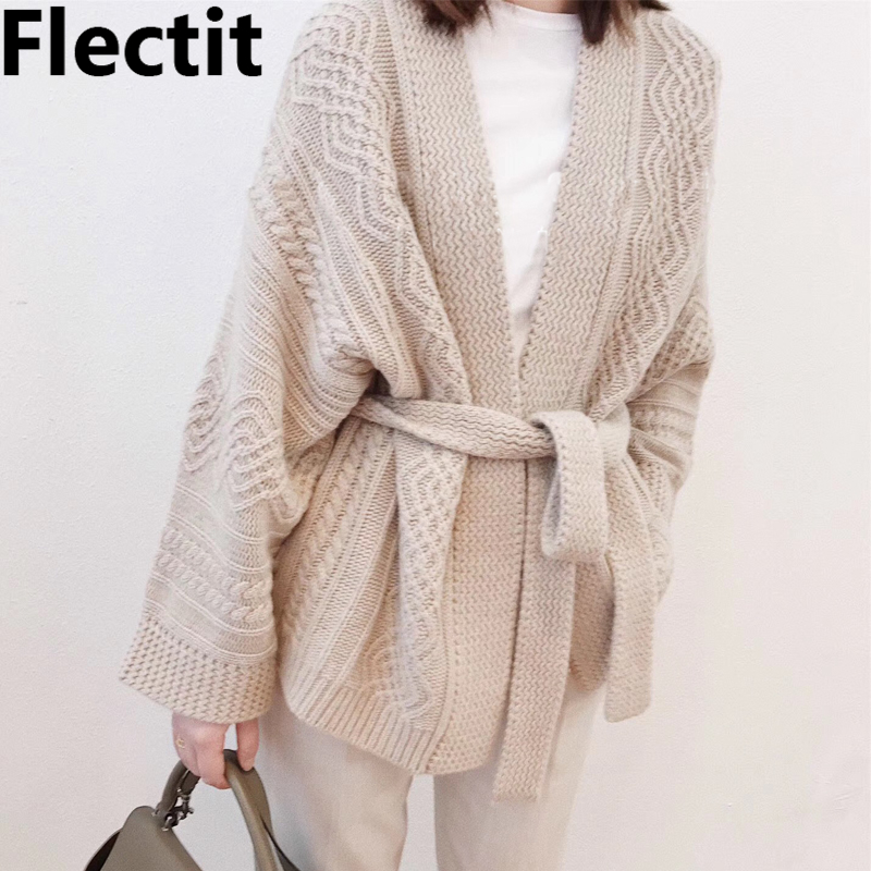 Flectit Women Wrap Cardigan With Tie Belt Kimono Sleeve Oversize Cable Knit Sweater Tops Fall Winter Outfits *