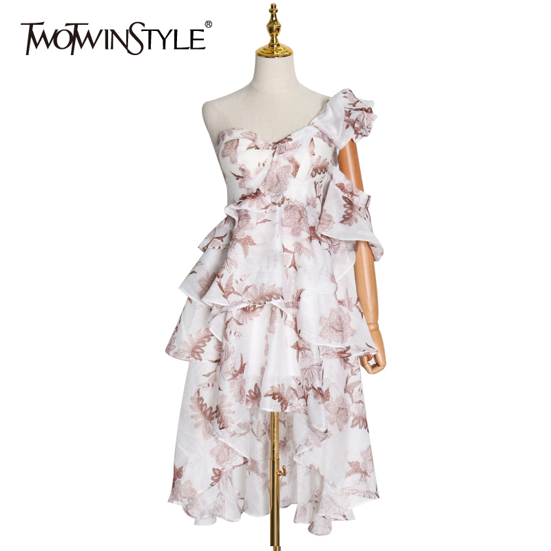 TWOTWINSTYLE Spring Asymmetrical Print Women's Dress One Shoulder Sleeveless Ruffle Dresses Female 2020 Spring Fashion New