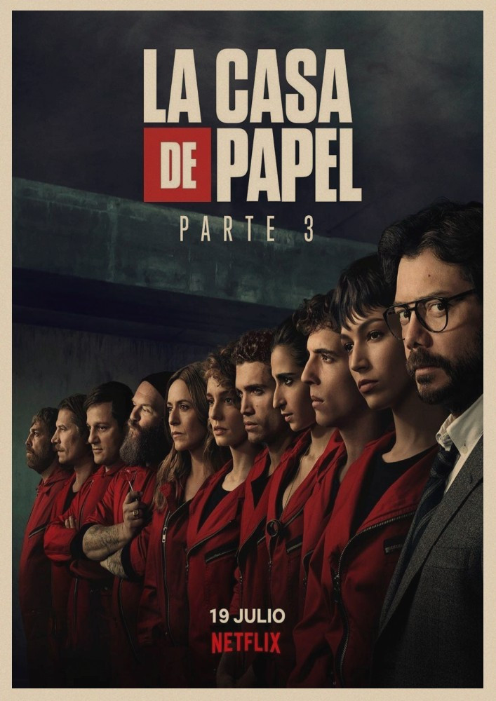 Image 2 - La Casa De Papel Money Heist Posters Retro kraft paper art Wall home Decoration Movie poster-in Wall Stickers from Home & Garden