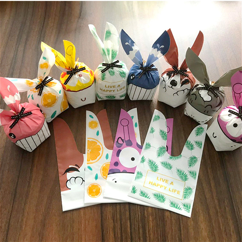 10pcs/Lot Long Ear Rabbit Easter Gift Bags Snack Biscuit Baking Package Wedding Birthday New Year Candy Cookies Party Decoration