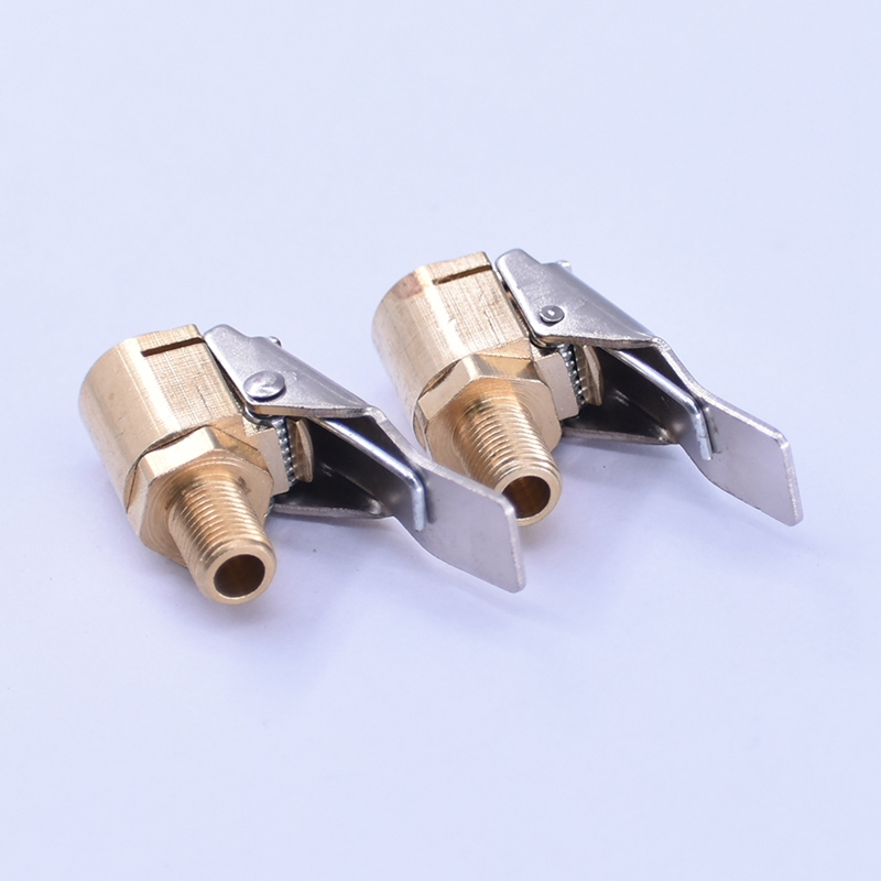 Car Auto Tyre Wheel Tire 8mm Brass Air Chuck Inflator Pump Valve Clip Clamp Connector Adapter  Valve Connector Clip-on