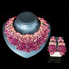 Nowe zestawy biżuterii ślubnej pełny naszyjnik z kryształem austriackim zestawy kolczyków dla kobiet zestawy biżuterii ślubnej i imprezowej JS139 tanie tanio SHCXGQN Ze stopu miedzi Kobiety Czechy Ślub PLANT Zestawy biżuterii dla nowożeńców NECKLACE EARRINGS Europe And America