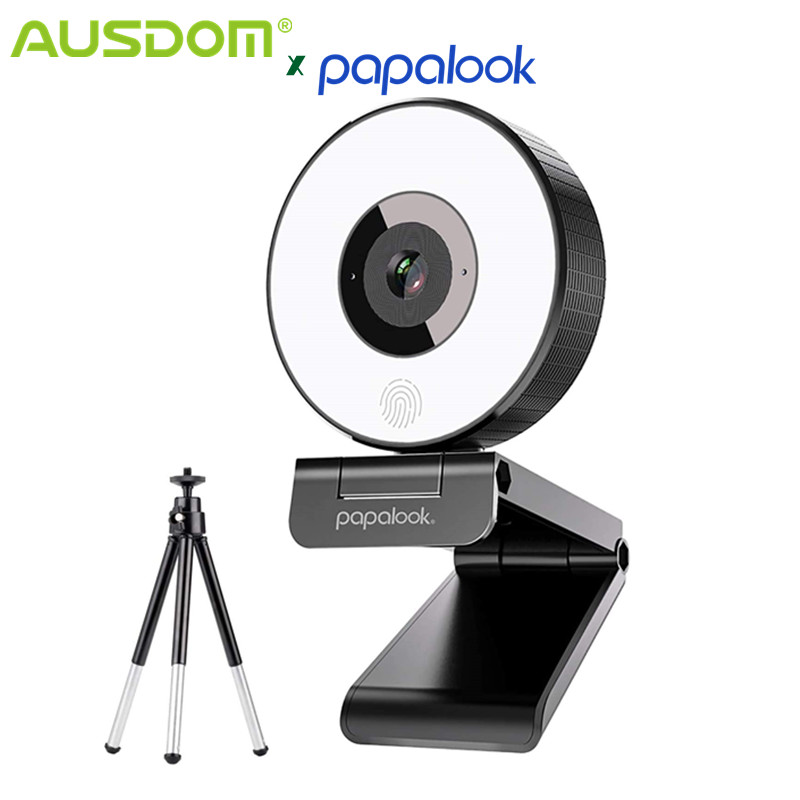 AUSDOM PA552 Ring Light Webcam HD 1080P With Microphone Adjustable Led Light Tripod Webcam Designed For Streaming OBS Twitch