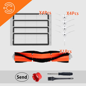 Image 1 - 12 adet robotlu süpürge değiştirilebilir parçalar seti roborock s50 s51 s6 ana fırça yan fırça yıkanabilir hepa filtre