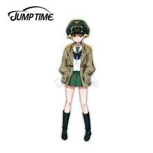 Jump Zeit 13x3,8 cm Mädchen und Panzer Erwin Riko Matsumoto Waifu Auto Aufkleber Windows Persönlichkeit Aufkleber Auto Styling dekoration