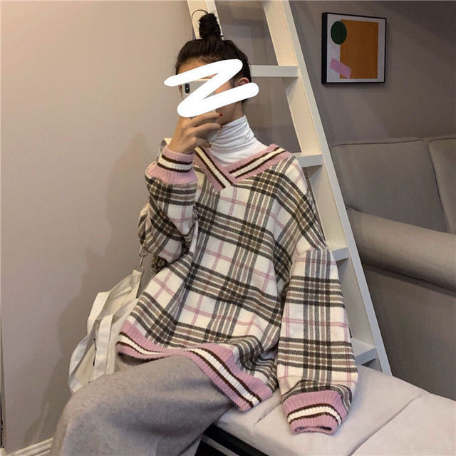 Women plaid hoodies pring winter new style slim fit casual hooded  sweatshirt pink and blue fashion Plaid Pirnted Cotton Hooded 1