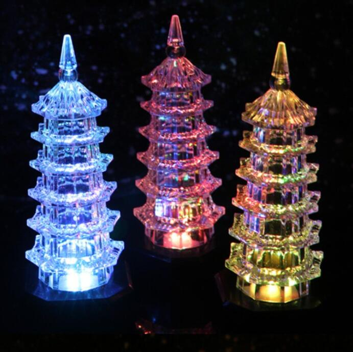 Creative Gift Of Seven Colourful Acrylic Pagoda Night Lights LED Light-emitting Pagoda Lights