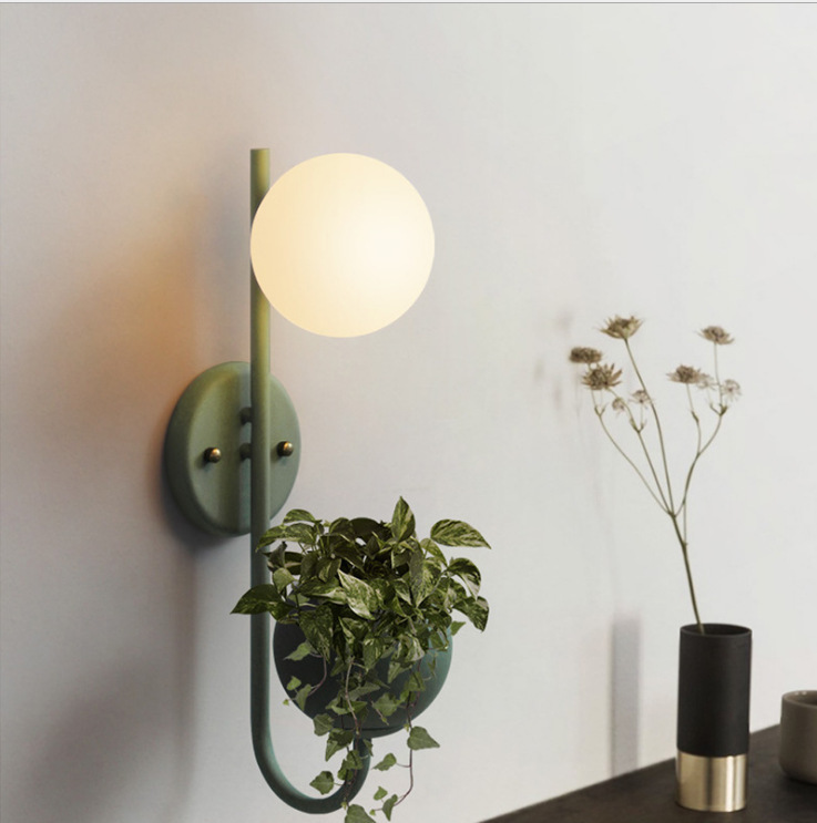 Nordic marca dragon color glass ball plant wall lamp clothing store cafe restaurant bedroom decorate wall lamp