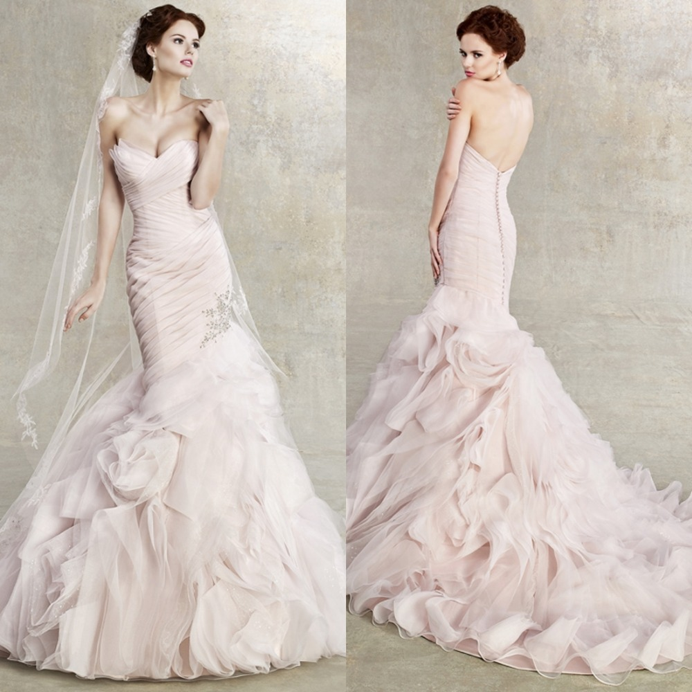 New Pretty Sweet V-Neck Mermaid Floor Length CHapel Trian Long Tiered Wedding Dress Bridal Gown 2016