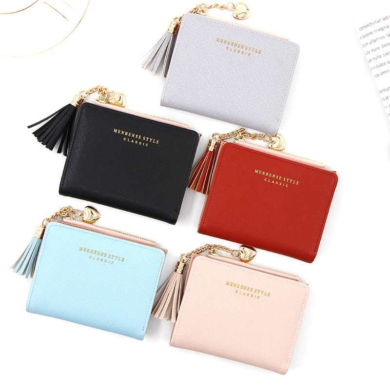 2020 Creative Women Wallets Tassel Short Wallet For Woman Zipper Mini Coin Purse Ladies Small Wallet Female Leather Card Holder