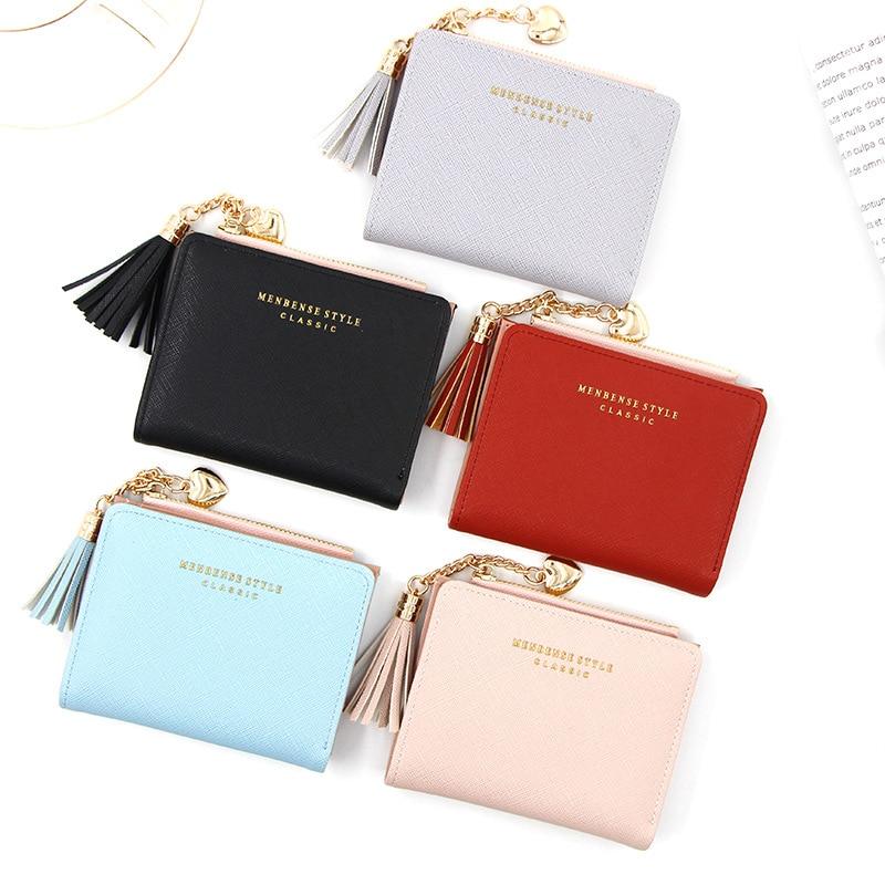 2020 Creative Women Wallets Tassel Short Wallet For Woman Zipper Mini Coin Purse Ladies Small Wallet Female Leather Card Holder