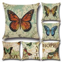 Наволочка для подушки с принтом бабочки, хлопок, лен, милая подушка с бабочкой чехол для автомобиля, дивана, декоративная наволочка, чехол, funda de almohada