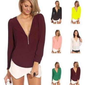Nueva blusa Sexy de verano y primavera para mujer, blusa de chifón con cuello en V y cremallera de manga larga, blusas informales, Vestidos