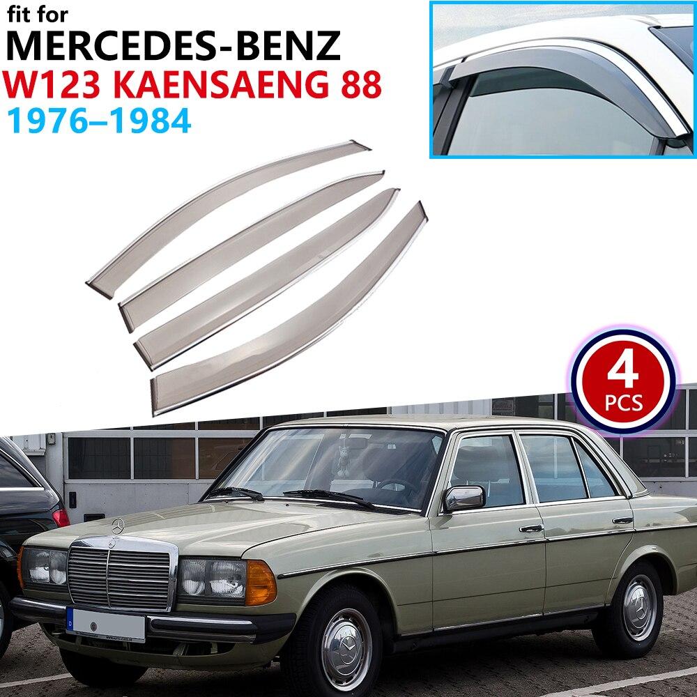 For Mercedes-Benz W123 Kaensaeng 88 1976~1984 Window Visor Vent Awnings Rain Guard Deflector Car Accessories 1977 1978 1979 1980