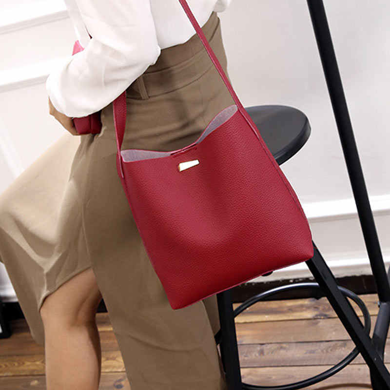 2 Pcs/Set Fashion Summer Women Shoulde Bag + Purse PU Leather Solid Color Ladies Girls Casual Messenger Bags SER88