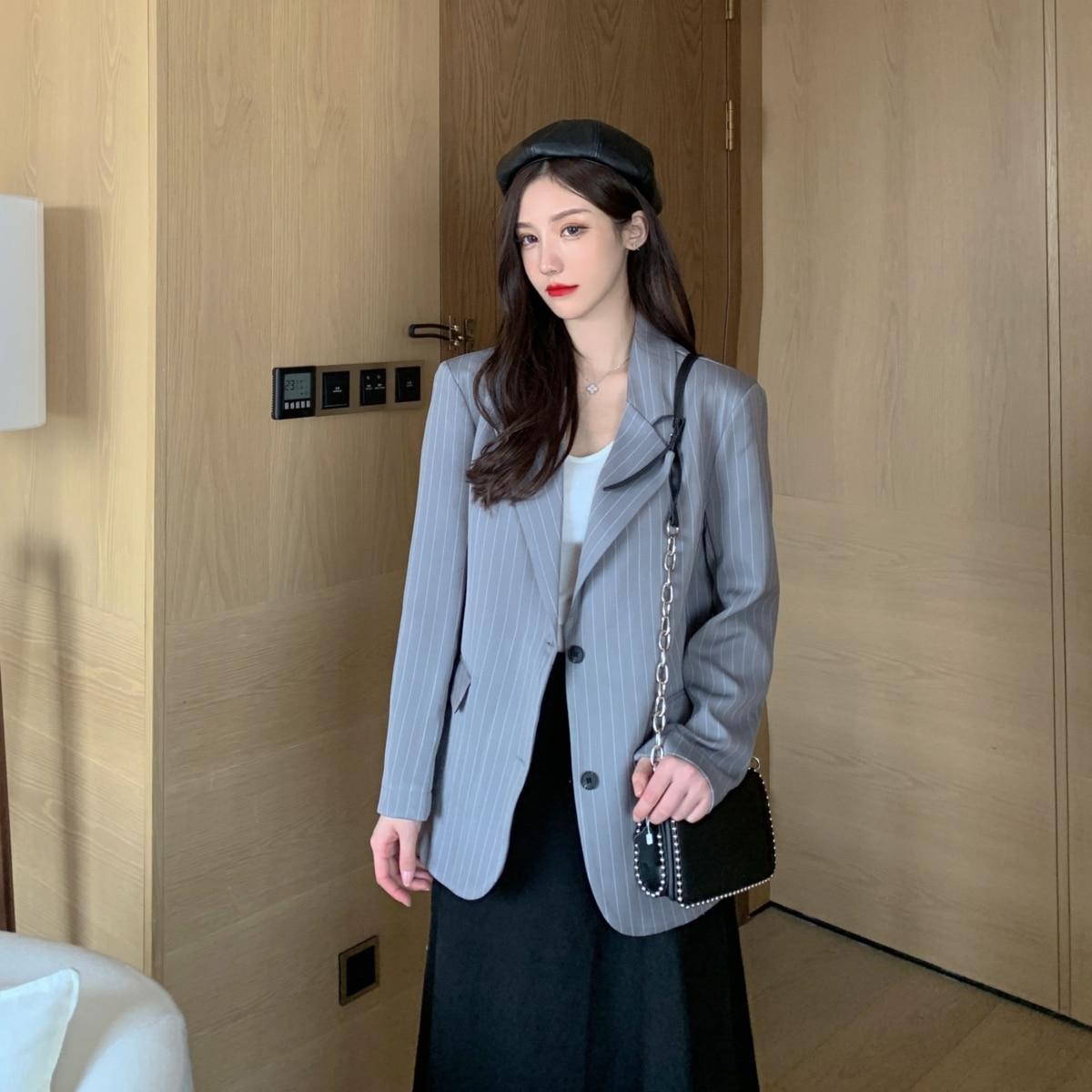 Stripe Korean Ladies Blazer Solid Gray Stylish Casual Loose Suit Jacket Long Sleeve Simple Retro Autumn Women Blazer New MM60NXZ