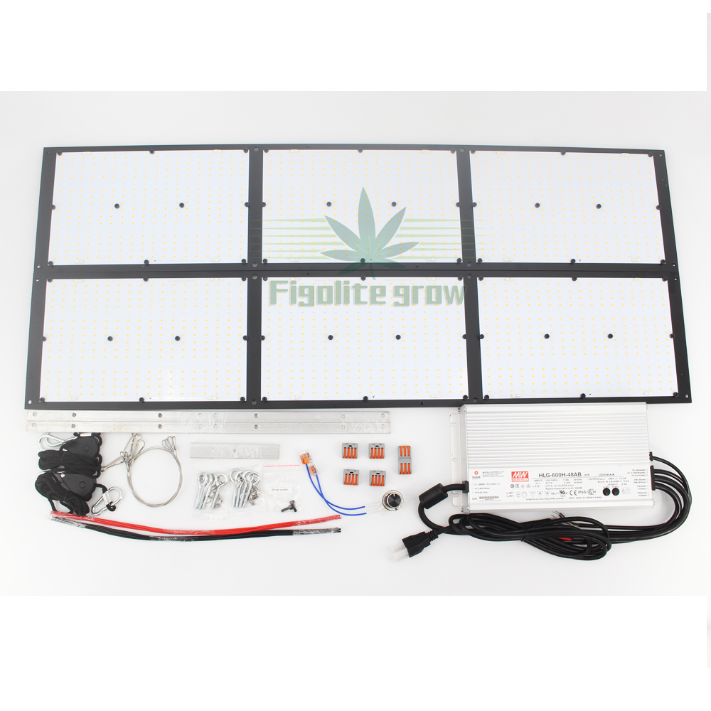 Figolite Grow Dimmable 600W Quantum Board Led Grow Light 6xQB288  LM301B HLG-600H-48B For Indoor Plant