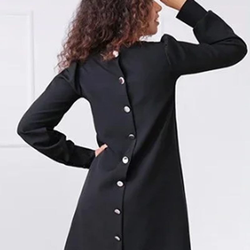 Women Elegant Back Buttons Solid Color Mini Dress O-neck 2020 Autumn Spring Loose Female Dress Holiday Party Casual Women Dress