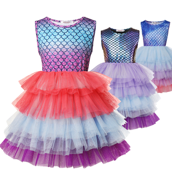 Layered Princess Mermaid Dress up Girl Party Costume Scales Print Gown Kids Milk Silk Clothes and Jewelry Grils Aril Fancy Dress 1