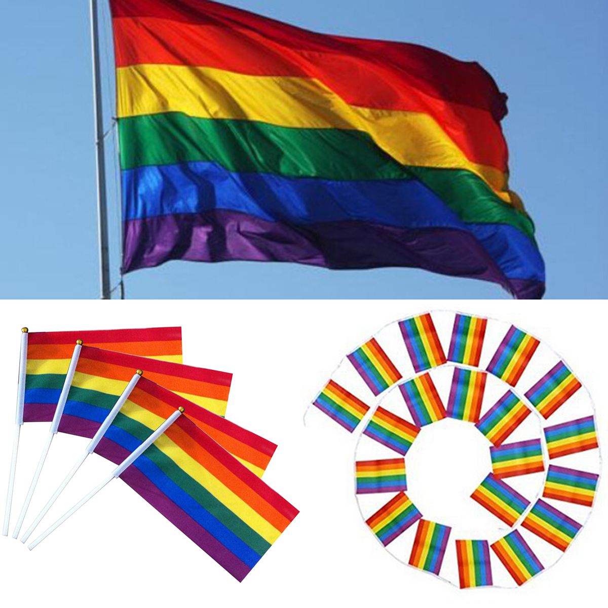 12pcs/set Rainbow Flag Colorful Rainbow Peace Flags Banner LGBT Pride LGBT Flag Lesbian Gay Parade Flags Home Decoration 3 Size