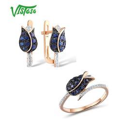 VISTOSO Schmuck Set Für Frau Reine 14K 585 Rose Gold Funkelnde Blaue Saphir Diamant Tulpe Ohrringe Ring Set Feine schmuck