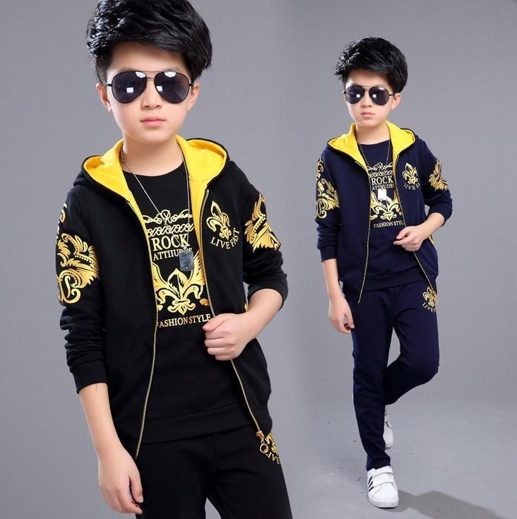 Children Spring Tracksuit Sport Set Kids Boys Autumn Clothes Suit Costume A Three-piece Suit of Coat+T-shirt+ Trousers 4-12Y