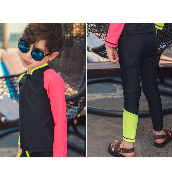 2018 Korean-style Male Baby BOY'S Hot Springs Two-piece Swimsuits Long Sleeve Trousers Sun-resistant Diving Suit Swimwear 8281