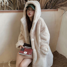 Plush-Coats Faux-Rabbit-Fur Long-Fur Warm Winter Women Luxury Thick Lapel Loose Female
