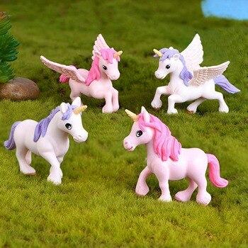 1Pcs Cute Unicorn Miniatures Figurines Fairy Garden Ornaments Craft Micro Landscape DIY Home Decoration Accessories Random Color 1