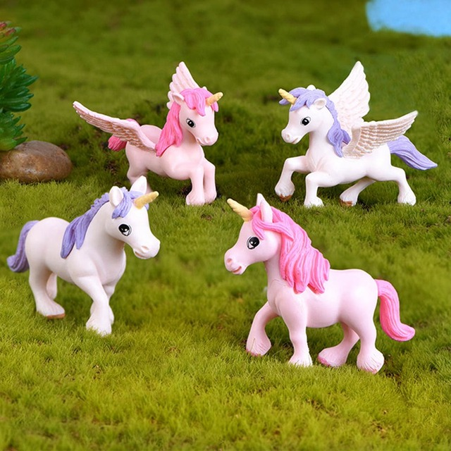 1Pcs Cute Unicorn Miniatures Figurines Fairy Garden Ornaments Craft Micro Landscape DIY Home Decoration Accessories Random Color 1