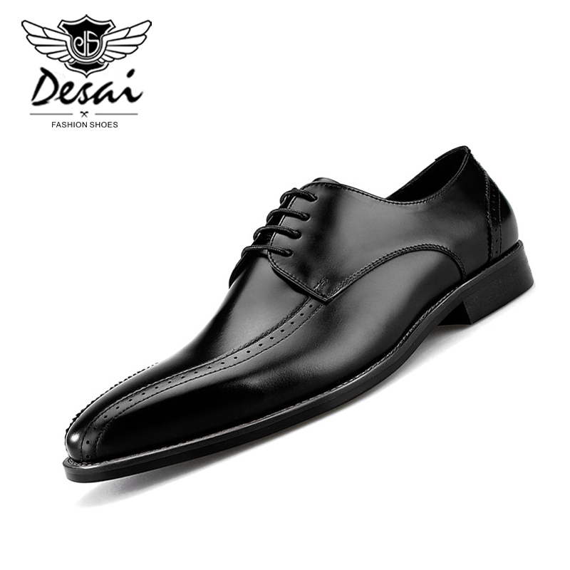British Mens New Brogues Lace up Wing Tip Formal Carved Real Leather Dress Shoes