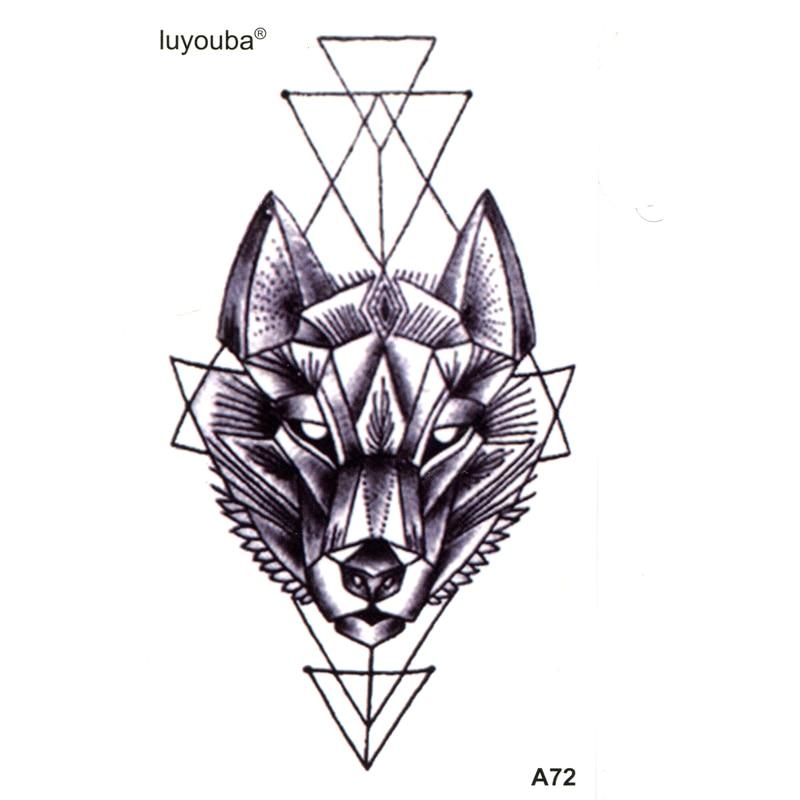 Wolf Waterproof Temporary Tattoos Sleeves Beauty Tatuagem  Animals Henna Tattoo Tatuajes Kit Tatoo Flash Kids Stickers