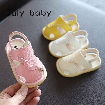 July baby summer baby sandals female boys leather baby shoes 1-3 years old soft bottom Baotou toddler shoes garden shoes 2018 winter plus cotton girls princess shoes genuine leather soft bottom for children 0 1 years old female baby toddler shoes