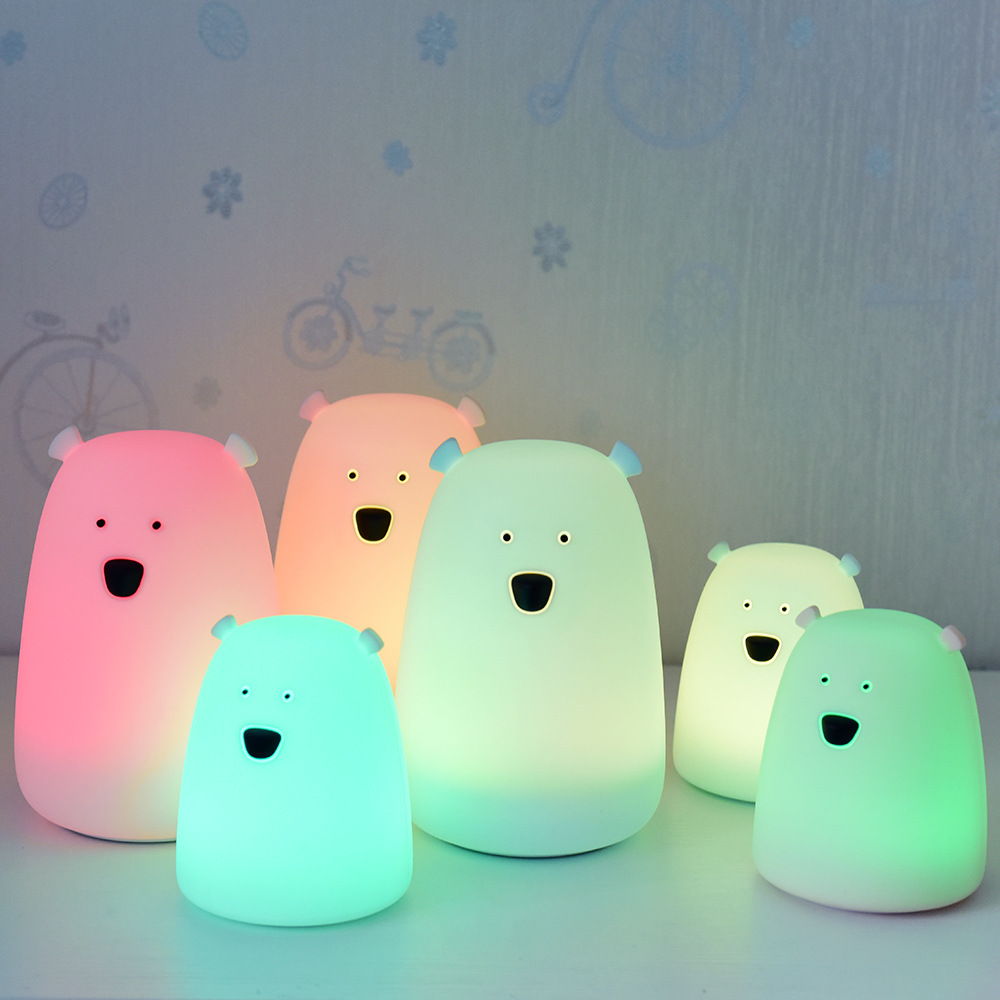 Cartoon LED Lamp Silicone Bear Night Light Touch Sensor Colorful USB Rechargeable Bedroom Lamp For Children Kids Baby Toys Gift