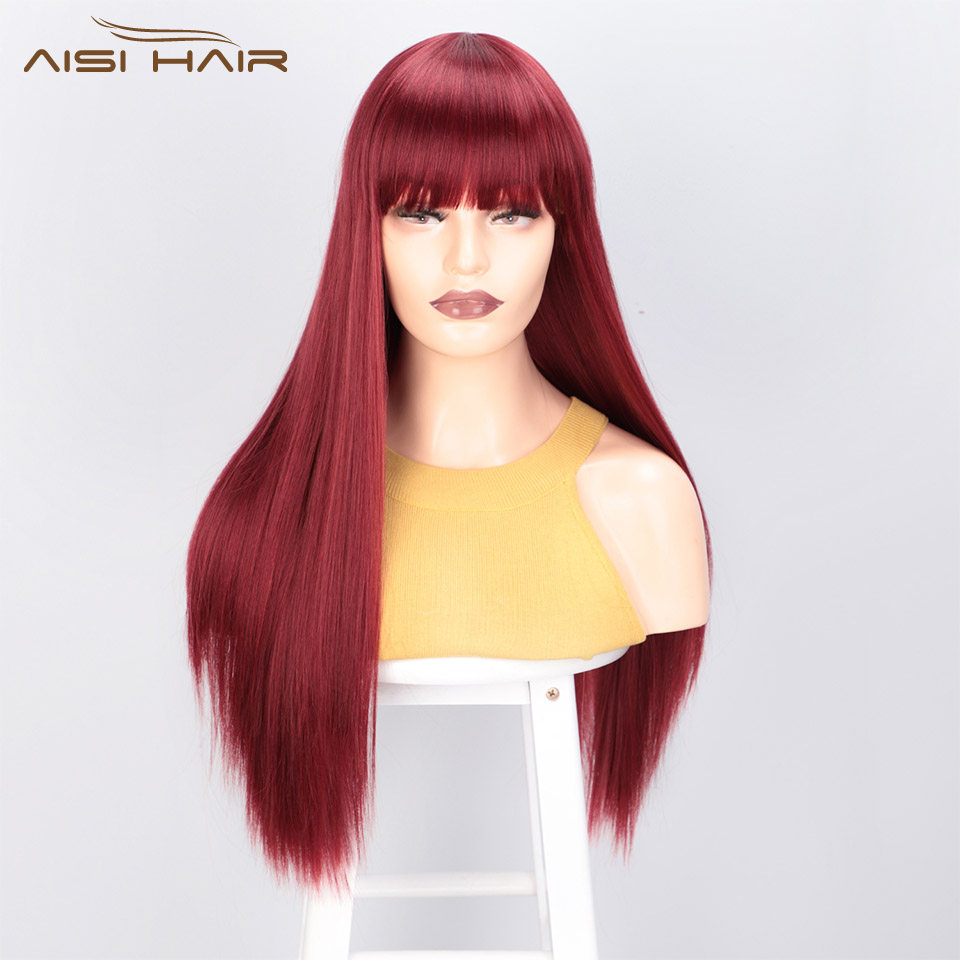 I's A Wig Long Straight Synthetic Wigs With Bangs Red Wig For Women 613 Blonde Black Cosplay Wigs Heat Resistant False Hair