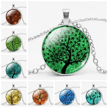 Fashion Tree of Life Necklace Eternal Tree Art Picture Glass Bullion Chain Vintage Necklace Women Jewelry(China)