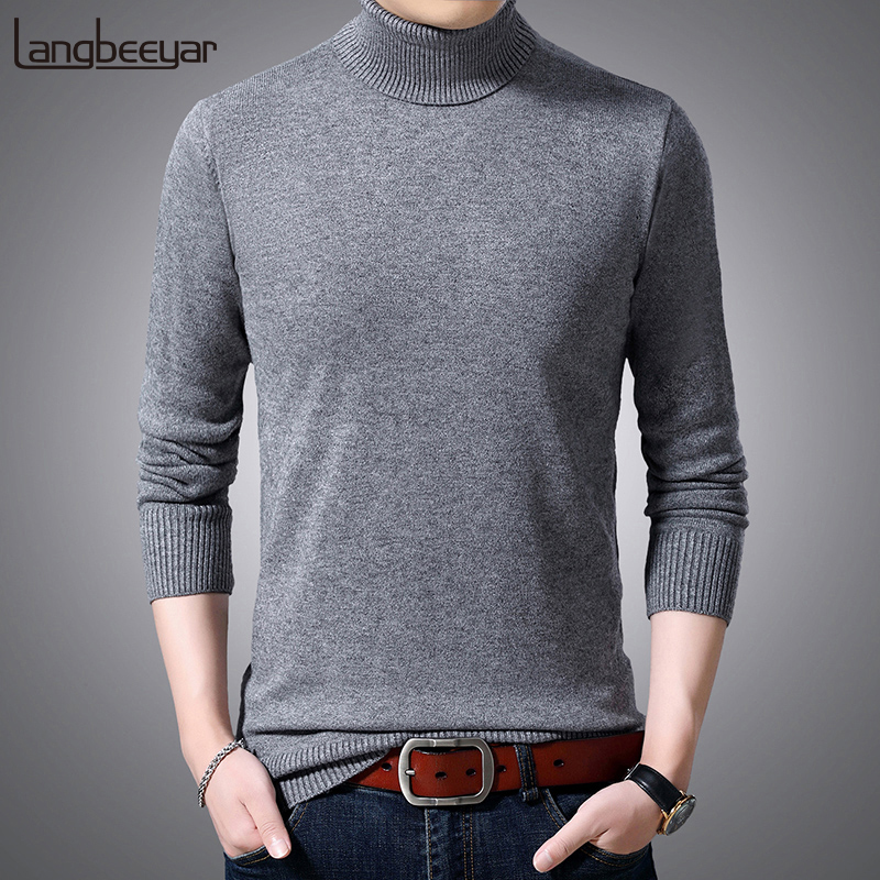 2019 New Fashion Brand Sweater Men Pullovers Turtleneck Slim Fit Jumpers Knitwear Winter Korean Style Casual Clothing Male