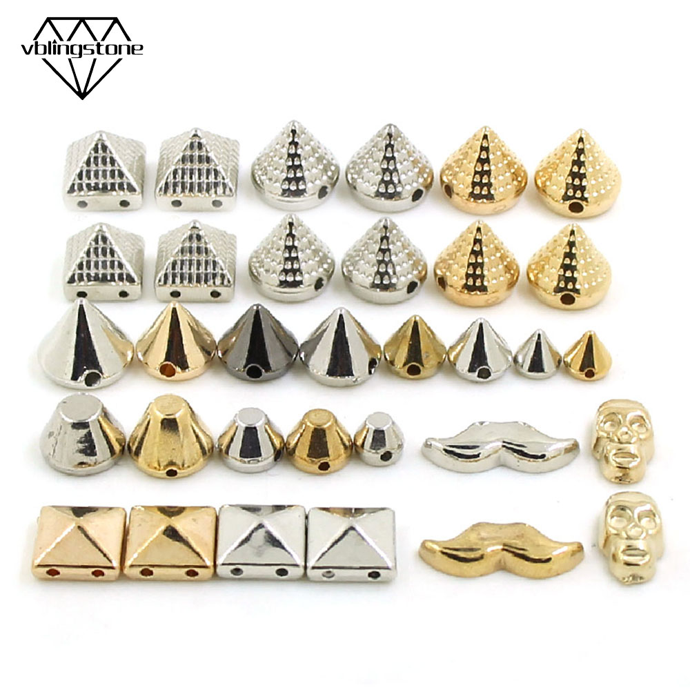 100Pcs Sew Rivets CCB Pyramid Cone Rivets All Kinds Of Plastic Studs Sliver Gold Black Spikes For Leather Clothes AccessoriesDIY