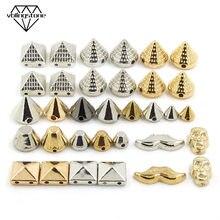100 pçs costurar rebites ccb pirâmide cone rebites todos os tipos de parafusos de plástico tira ouro preto picos para roupas de couro accessoriesdiy
