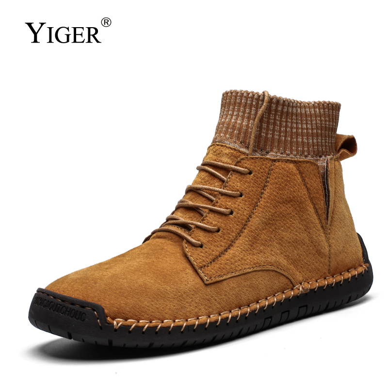 YIGER New Men Martins Winter Marm Big Size Handmade Sock Boots Spring And Autumn Lace-up Man Casual Boots Male Ankle Boots  0394