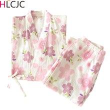 2020 Loose Sakura Print Pajamas Set Japanese Kimonos Pijama Mujer Woman Pyjama Femme Summer Cotton Gauze Lovely Home Serve Suit