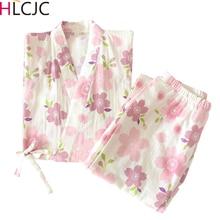 2020 ensemble de pyjamas imprimé Sakura en vrac japonais Kimonos Pijama Mujer Femme Pyjama Femme été coton gaze belle maison servir costume