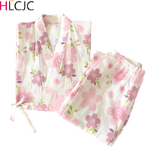 2020 緩い桜プリントパジャマセット日本着物スパースター mujer 女性パジャマファム夏綿ガーゼ素敵なホームスーツ提供