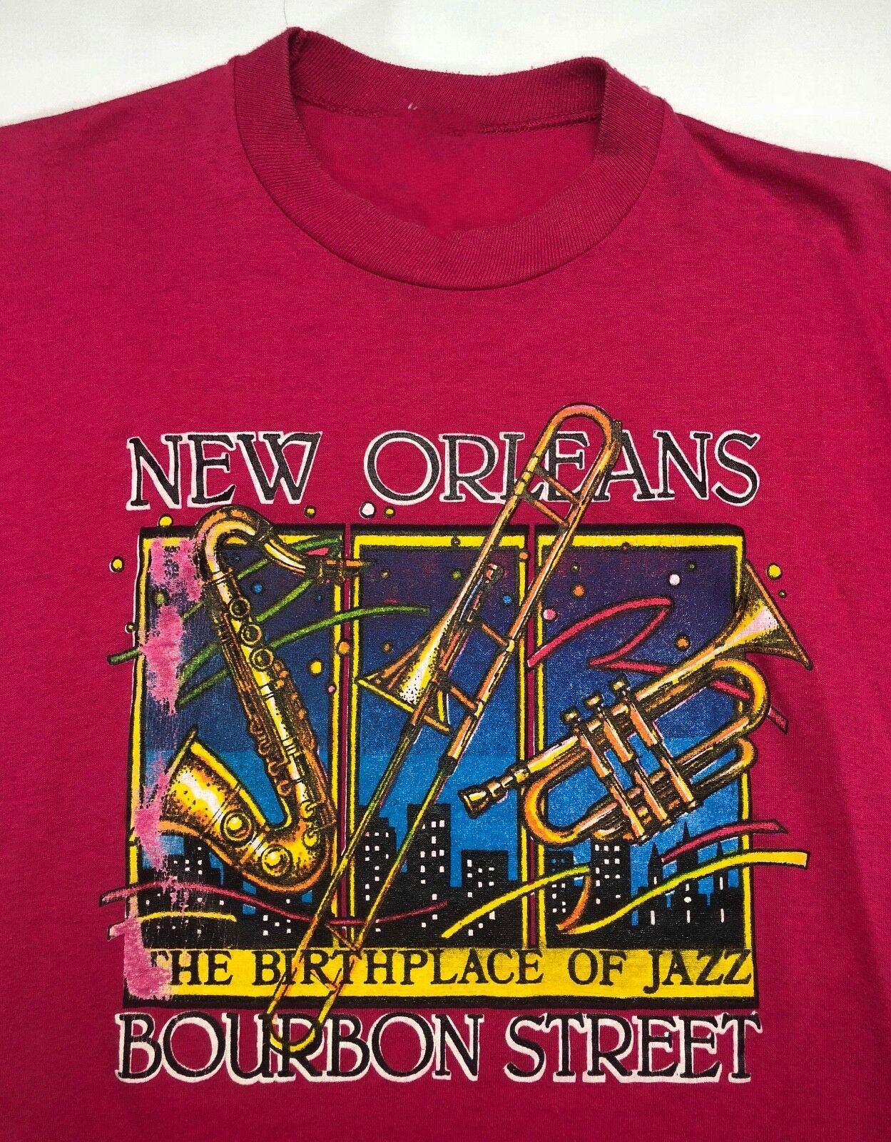 Vintage Mens 80S New Orleans Bourbon Street Birthplace Of Jazz Pink T-Shirt Unisex Size S-3Xl image
