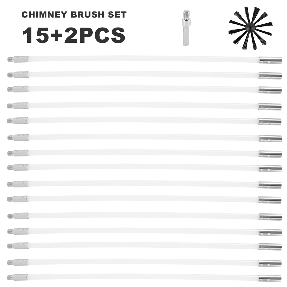 17pcs Chimney Brush Set Household Industrial Chimney Boiler Brush Dryer Cleaning Tool Rotary Sweep System Fireplace Clean Kit